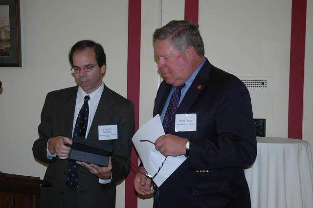 Craig Schiffries presents Congressman Norm Dicks with an award 1