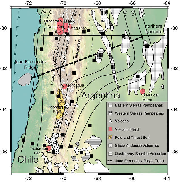 Crustal and Upper Mantle Structure in the Flat Slab Region of Central Chile and Argentina - fig. 1