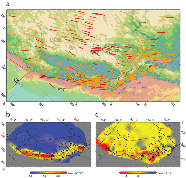 Plate boundary deformations, involving surface velocities, shear strains, and mean strains