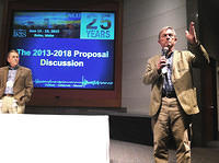 David Simpson, IRIS President, and Brian Stump, Board President, discuss ideas for the next 25 years.