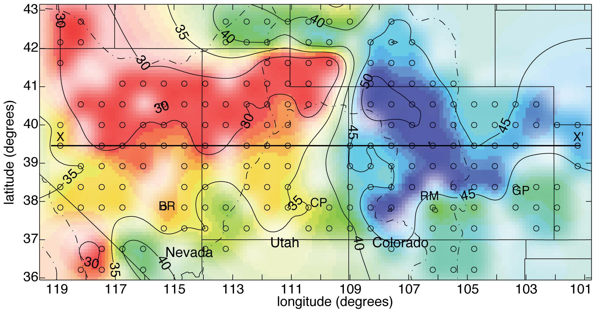 Crustal Structure Of The Basin And Range Colorado Plateau Rocky - Map of colorado plateau region