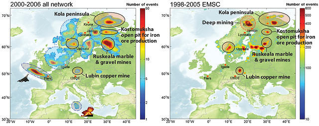 Infrasonic sources monitored across Europe using regional infrasound records for 2000–2007