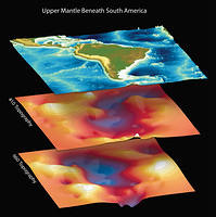 Surface topography and bathymetry around South America