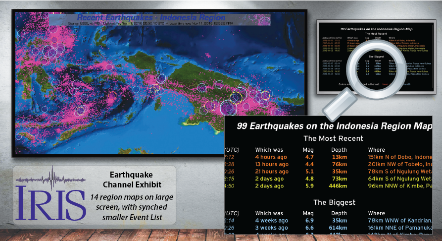 The IRIS Earthquake Channel display supports a second monitor that shows a textual list of significant earthquakes currently on the main monitor's map.