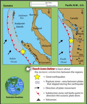 This Rollover Compares The An Earthquake Of 1700 In The Pacific Northwest With The 2004 Sumatra Earthquake And Tsunami The Tectonic Settings Are Similar