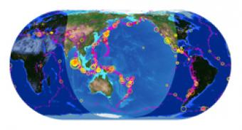 Plotting earthquake epicenters on a world map incorporated research a beautiful map of the latest earthquakes in near real time the map also provides links to related resources news and connections to 3d maps gumiabroncs Choice Image