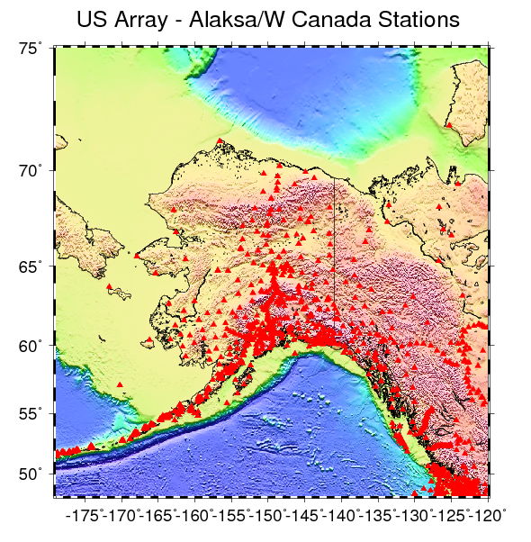 Plot of all 734 stations from the US Array in Alaska and Wstern Canada