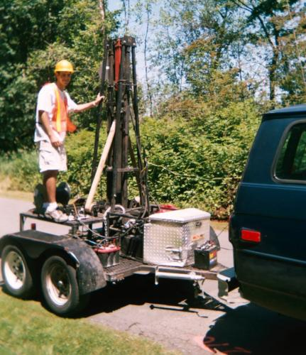 2006 Intern Adam Halper  prepares the accelerated weight drop seismic energy source