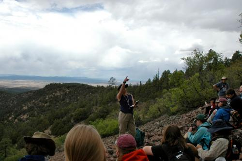 NMT Professor Neila Dunbar  leads students on an excursion to explore the Rio Grande rift valley