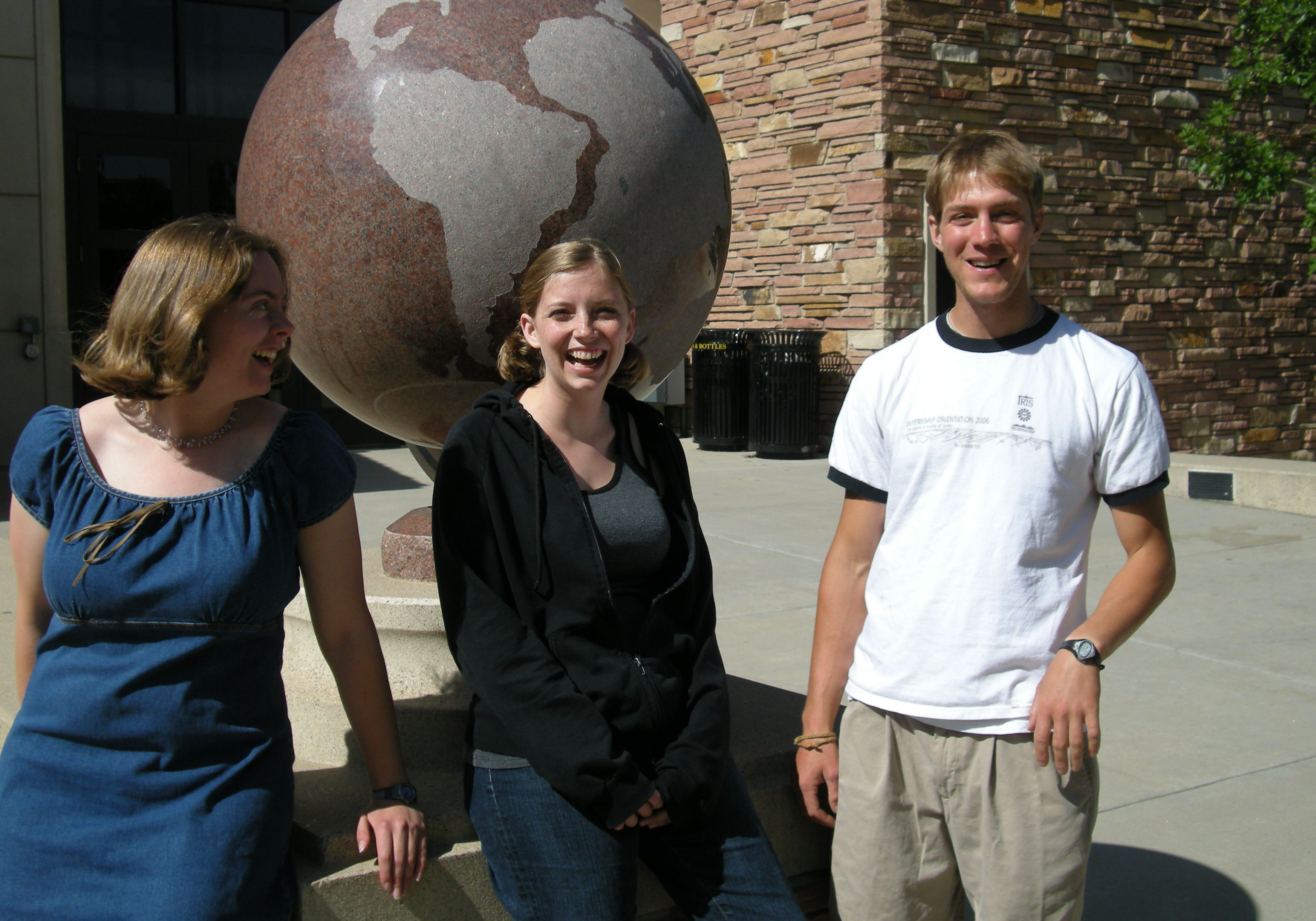 Three generations of IRIS interns work with Anne Sheehan at the University of Colorado, Boulder.  Arianne Dean - 2007, Mollie Pettit - 2008, Will Levandowski - 2006
